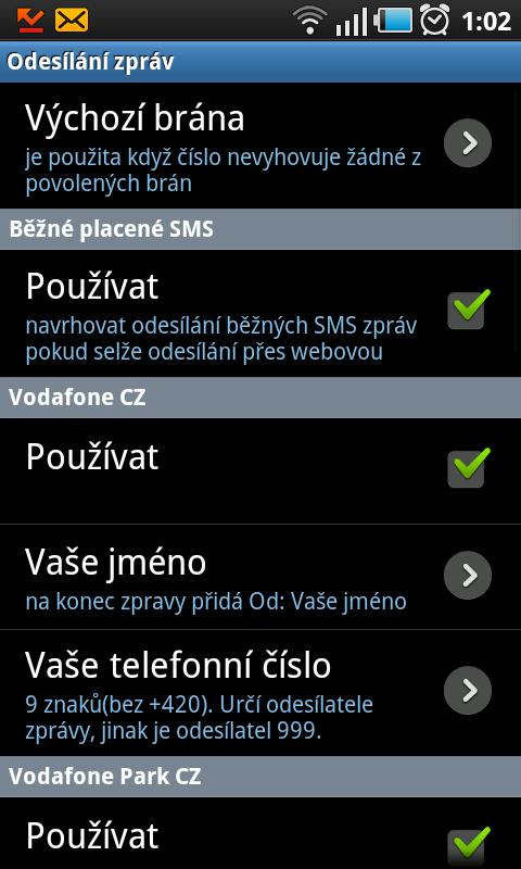 nastavení SMS sender