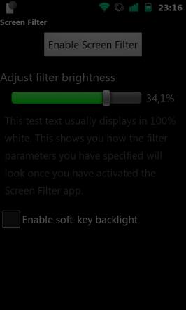 Screen filter - nastavení - zapnuto