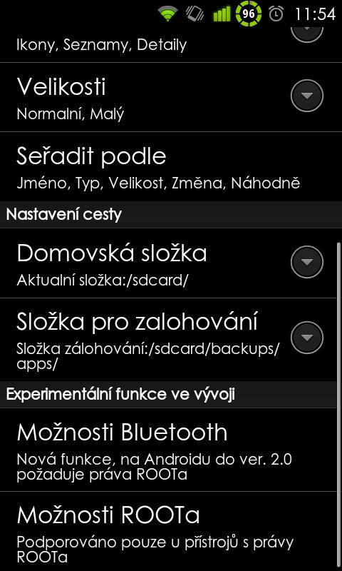 Část nastavení ES, jak je vidět je to česky a umí to využít ROOT.