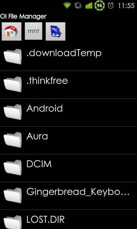 Jediné možné zobrazení v OI File manager, jak jinak než listové