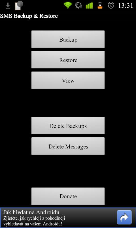 Hlavní obrazovka programu