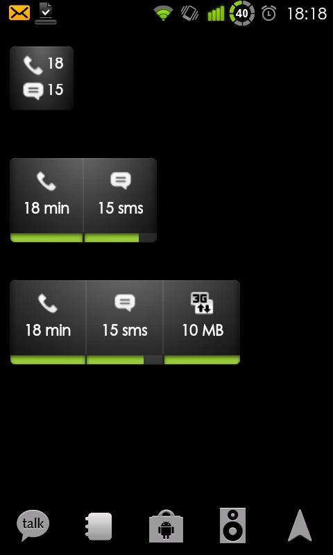 3 možné widgety poskytované DroidStats ukazující počet volných minut/SMS/Dat
