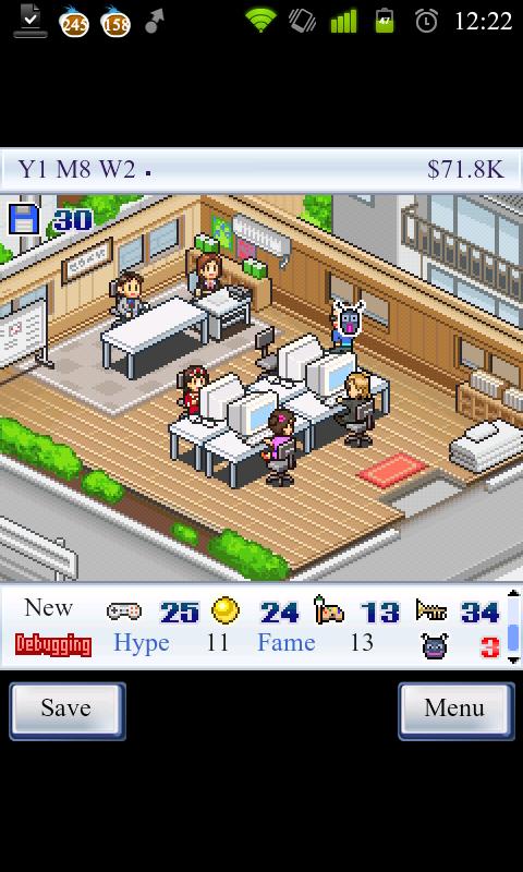 Game Dev Story - zaměstnanci pracují, hra prodělává