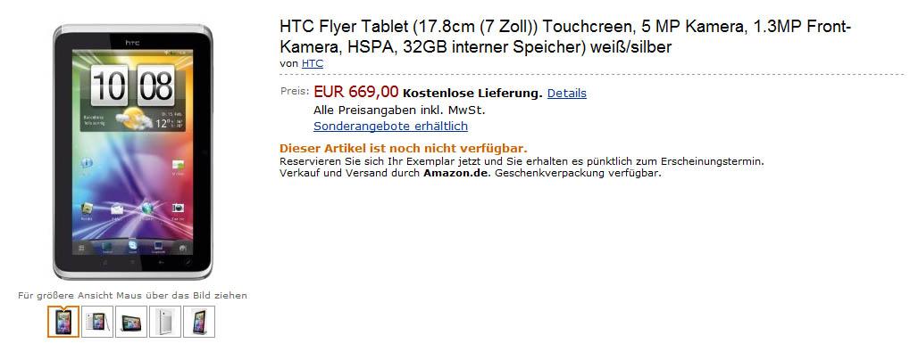 cena HTC Flyer