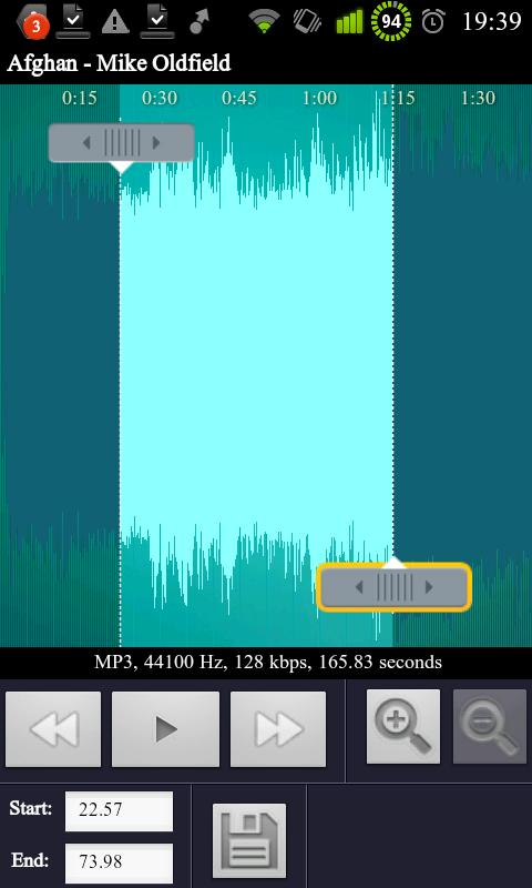 RingDroid - stříhání konkrétní písně