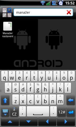 Manažer nastavení pro Minimalistic Text v seznamu aplikací.