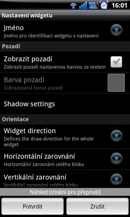 Nastavení jednotlivých widgetů pro Minimalistic Text - část 1.