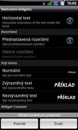 Nastavení jednotlivých widgetů pro Minimalistic Text - část 2.