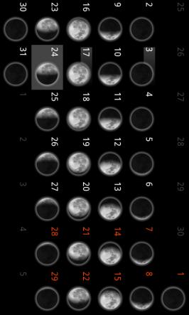 Kalendář v aplikace Moon 3D.