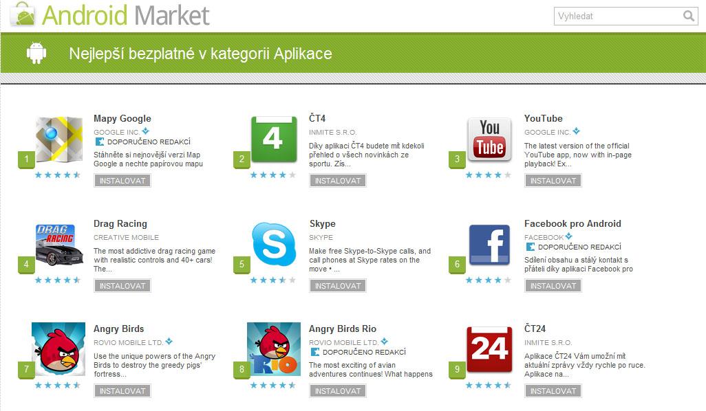 Nejlepší aplikace Android market