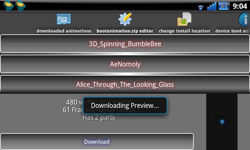 Seznam aplikací s náhledem v app Boot Animation Installer.