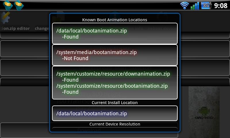 Informace o nalezených boot animacích v app Boot Animation Installer.