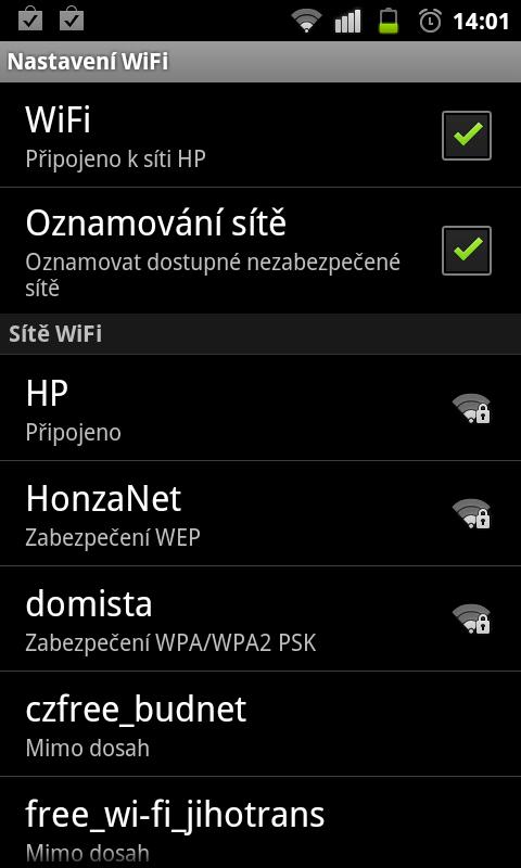 JNT WiFIPripojeno Jak se připojit s Androidem k WiFi síti