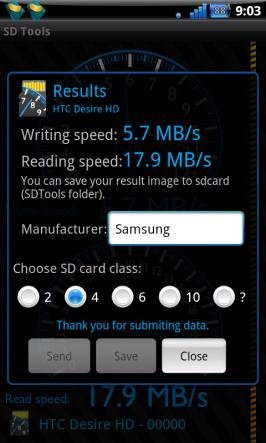 Výsledky měření v app SD Tools.