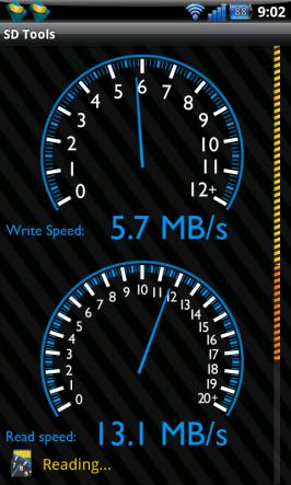 Měření rychlosti čtení z karty v app SD Tools.