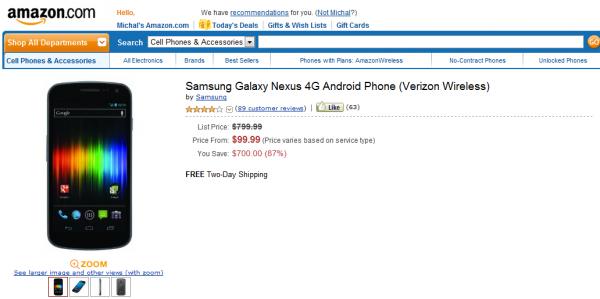 Galaxy Nexus $99