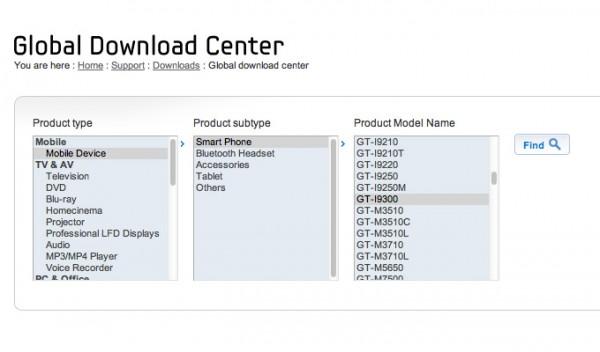 samsung global download center 600x352 Samsung Galaxy S III na stránkách podpory společnosti Samsung?