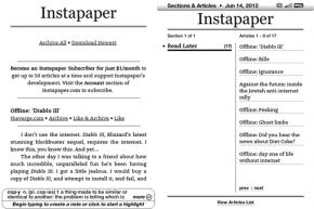 Náhled Instapaperu v Kindlu