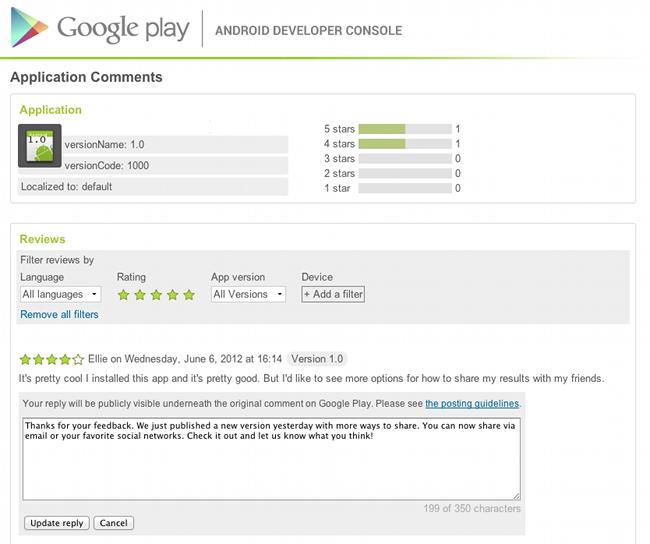 googleplaydeveloper Google zavádí možnost odpovídat na komentáře u aplikací z vývojářského účtu
