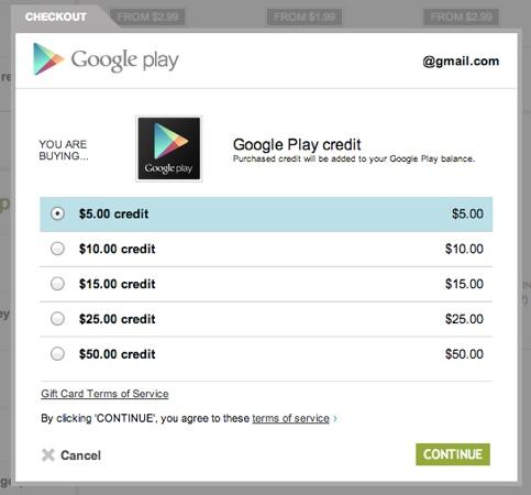 Google play - předplacený kredit