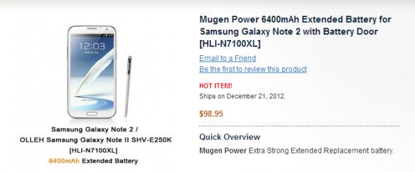 6400mAh baterie pro Galaxy Note II