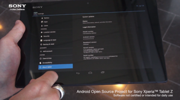 Sony Xperia Tablet Z AOSP