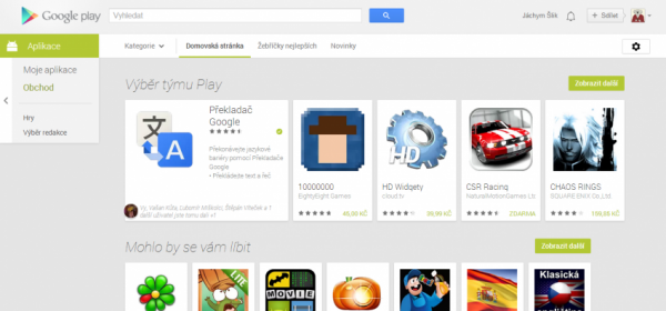Google play hlavni