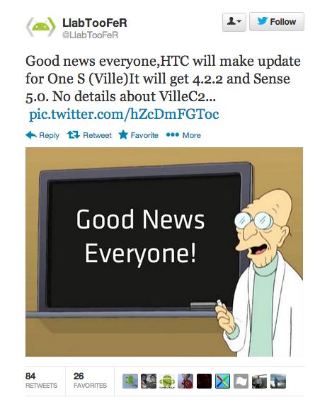 HTC One S update twitter
