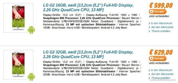 LG G2 první cenová nabídka v Německu
