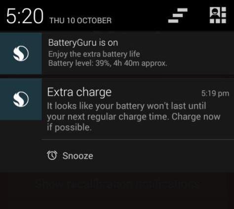 BatteryGuru notifications