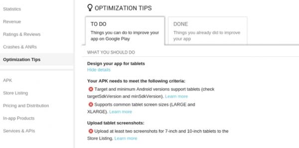 Tipy optimalizace - Google Play Store