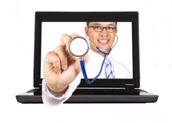 healthcare and medical service from internet.doctor's hand with stethoscope