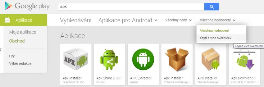 Google play nabízí filtrovaní aplikací podle hodnocení
