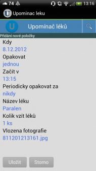 upominac leku 2 190x337 Upomínač léků   česká aplikace pro Android